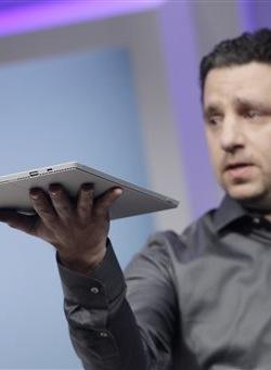 Panos Panay, Microsoft's vice president for surface computing, introduces the Surface Pro 3 tablet device at a media preview.