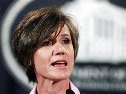 Former U.S. Attorney for the Northern District of Georgia Sally Yates, speaks to reporters during a news conference at the Justice Department in Washington.