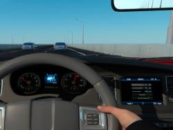 An illustration of automobile's adaptive cruise control for a driver while driving on the road.