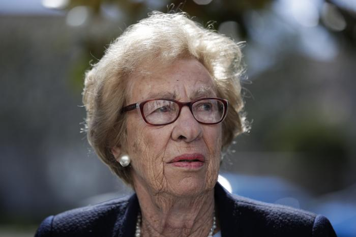 Eva Schloss, the stepsister of Anne Frank and a Holocaust survivor, attends a news conference in Newport Beach, Calif.