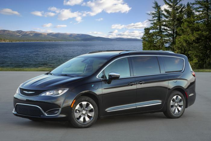 This photo provided by FCA shows the Chrysler Pacifica Hybrid, a plug-in hybrid minivan that has both a gasoline engine and hybrid system