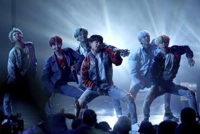 "BTS performs ""DNA"" at the American Music Awards in Los Angeles."