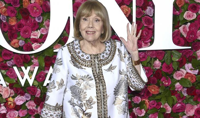 Britain's Diana Rigg arrives at the 72nd annual Tony Awards at Radio City Music Hall in New York.