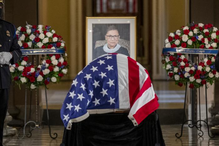 Justice Ruth Bader Ginsburg lies in state in Statuary Hall of the U.S. Capitol in Washington.