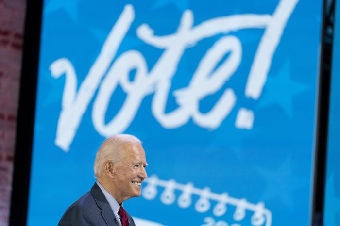 """Democratic presidential candidate former Vice President Joe Biden appears on a """"Zoom with Oprah Winfrey"""" virtual show at The Queen theater in Wilmington, Del."""