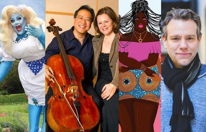 Kylie Minono at Oasis' Drag Brunch, Yo-Yo Ma & Kathryn Stott, Haight Street Art Center trans posters, Adam Pascal in the Seth Concert Series