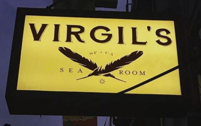 The street sign for Virgil's, the SF bar that has closed due to the pandemic.