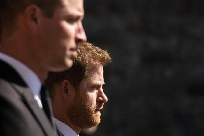 Prince William, the Duke of Cambridge and Prince Harry walk in the procession, ahead of Britain Prince Philip's funeral at Windsor Castle, Windsor, England.