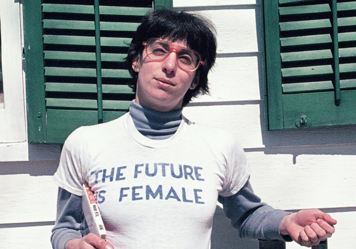 """Alix Dobkin poses in a t-shirt that reads """"The Future is Female"""" in Preston Hollow, N.Y. in 1975."""