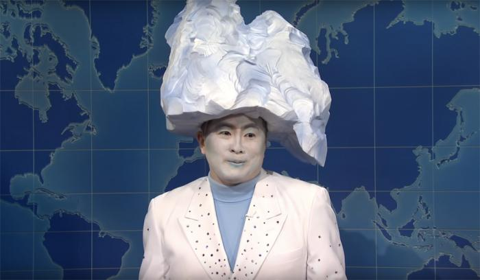 Bowen Yang as the iceberg in the April 10, 2021, episode of 'Saturday Night Live.'