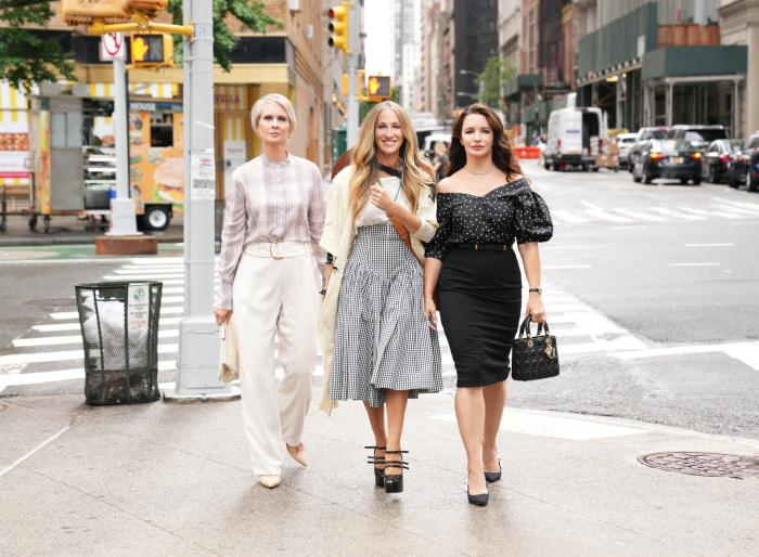 """From left to right: Cynthia Nixon, Sarah Jessica Parker, and Kristin Davis in the HBO Max show """"And Just Like That."""""""