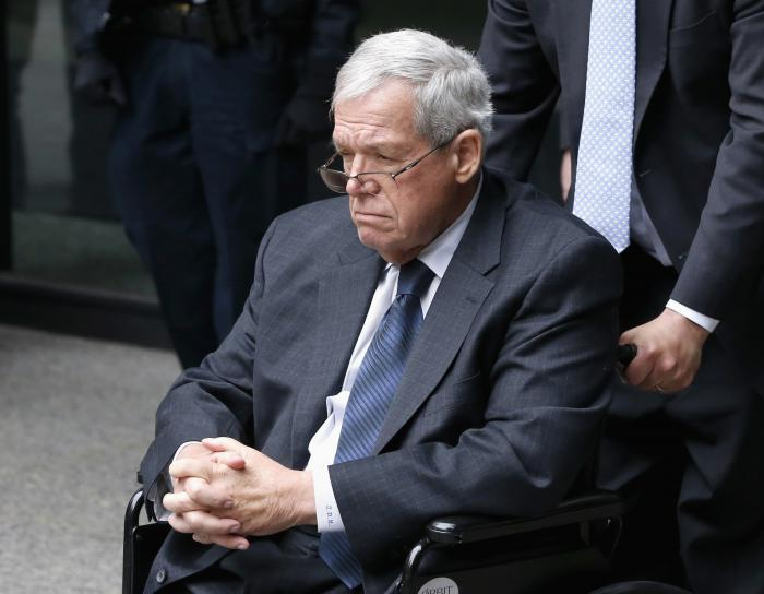 Former U.S. House Speaker Dennis Hastert departs the federal courthouse in Chicago after his sentencing on federal banking charges.