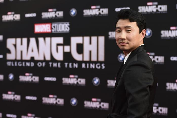 """Cast member Simu Liu arrives at the premiere of """"Shang-Chi and the Legend of the Ten Rings"""" on Monday, Aug. 16, 2021, at the El Capitan Theatre in Los Angeles."""