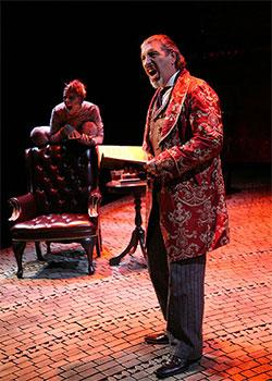 """Yvonne Gougelet and Max McLean in """"The Screwtape Letters."""""""